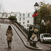 woman walking up a hill in Montmartre