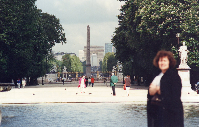 Pool in the Tuilleries with a view to the obelisque of Place de la Concorde and the Arc de Triompe and the Champs Elysee