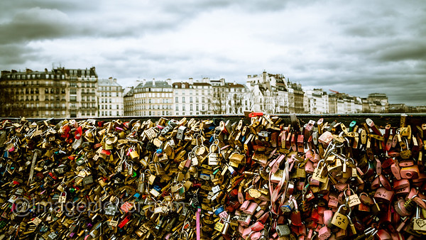 Padlocks on the Pont de l'Archevêché, Paris