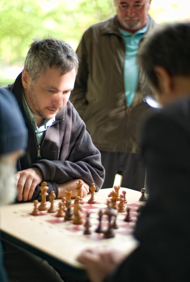 Good chess players can be found in the parks everywhere in Paris.