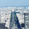 Av de la Grande Armee to the Arc de Triumphe from atop la Grande Arche de la Defense.