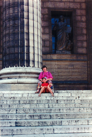 Gill and Lan on the steps of la Madeleine Paris France - Jul 1996