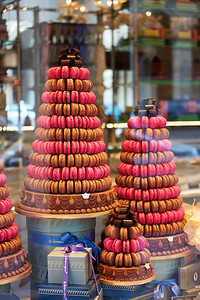 Macaron Monument in Paris Window Display:  in Paris they DO taste as good as they appear.