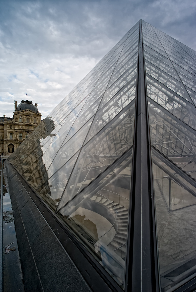 The contrast of new and old at the Louvre.