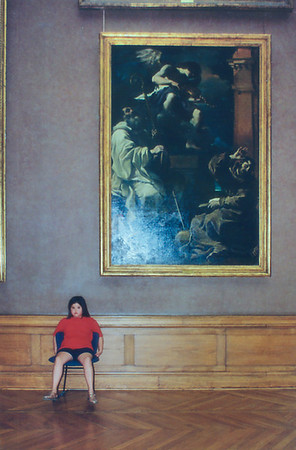 Lan having a rest Le Louvre Paris France - Jul 1996