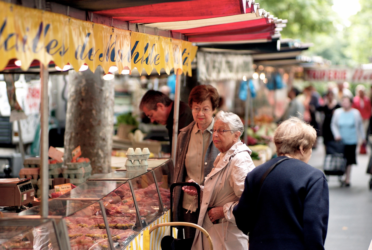 Fresh ingredients come first in French cooking.  In Paris, these morning markets are everywhere and provide local shoppers their needs for the day.