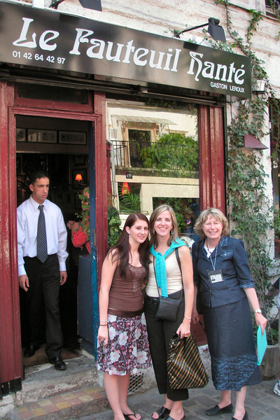 Elizabeth and Dena with our Guide, at a bistro in Montmartre.