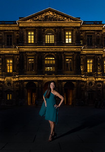 Night portrait in the Louvre Courtyard, Paris.