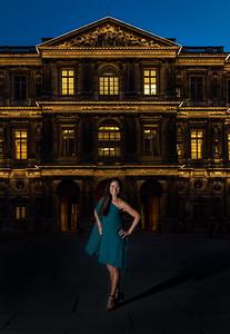 Night portrait in the Louvre Courtyard, Paris.