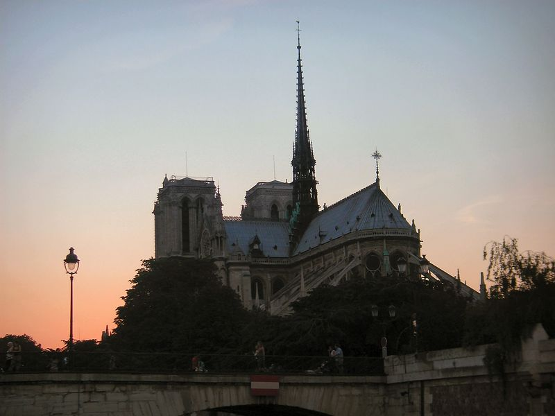 Notredame at sunset from the Seine