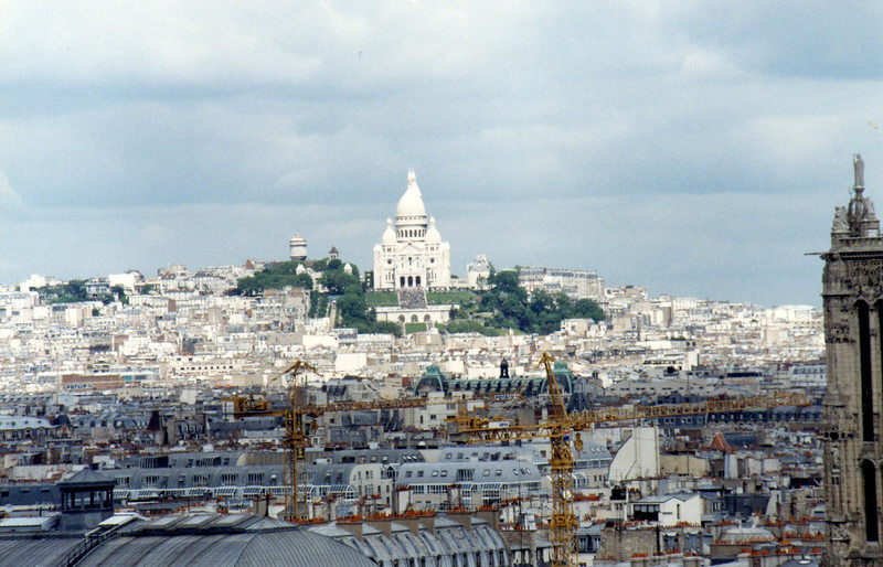 "Basilica Sacre Coeur on ""mo-mart"" from atop Notre Dame"