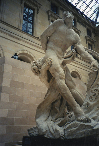 Man vs Lion sculpture - Louvre.