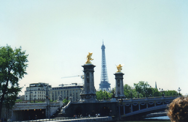 Pont Alexander III (he was a pope) with the Eiffel Tower splitting the golden flames on the bridge (pont)