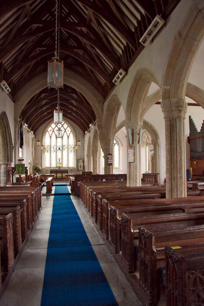 Interior of the church. Locals take considerable pride in its long history and treat it with great respect. The two elderly female parishioners who were inside tidying up indicated that there are currently only about 50 active members.