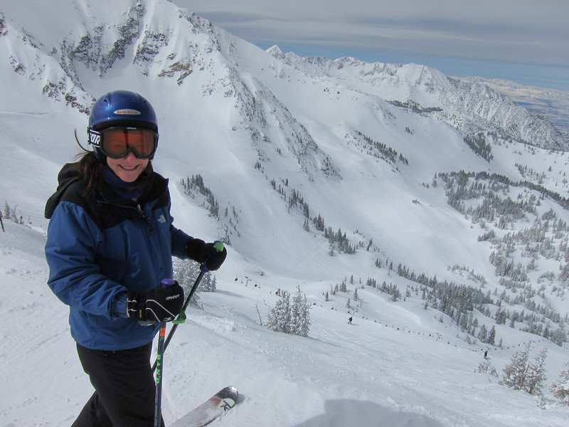 "Rebecca atop Hidden Peak at Snowbird.  Perhaps she is thinking, ""Taking 'the plunge' is no problem."""