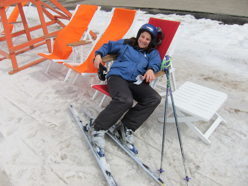 On the beach at the base of the Canyons.  Skiing in wet snow can be tiring.