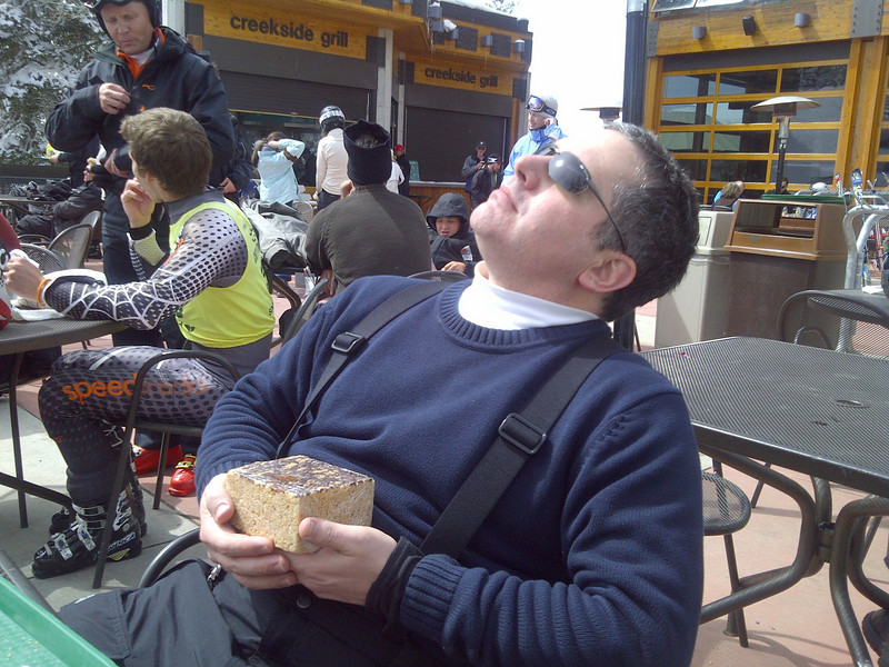 I sit at the base of Snowbird and ponder energy.  Skiing yields a calorie dept that I am preparing to pay.  Payment will take the form of a peanut butter chocolate rice crispy treat the size of my head.