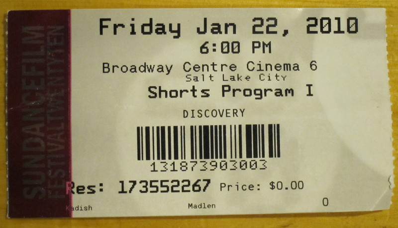 Sundance Film Festival, 2010.  Ticket for Shorts 1.