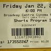 Sundance Film Festival, 2010.  Ticket for Shorts 1.