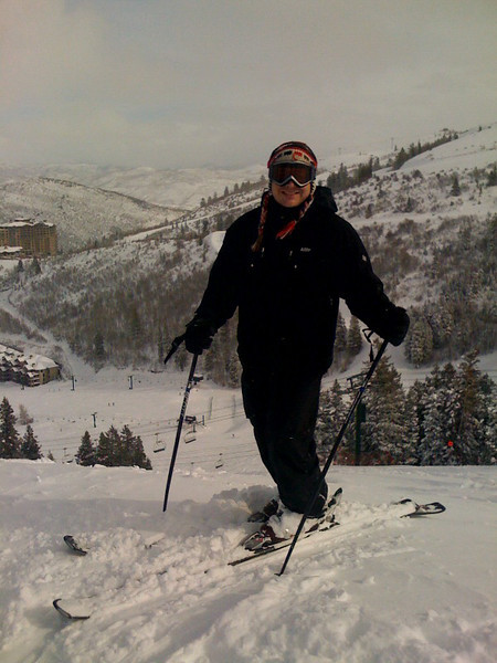 """Perry atop """"Lucky Bill"""" at Deer Valley.  Photo courtesy of Shirley Gherson."""
