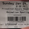 Sundance Film Festival, 2010.  Ticket for Animation Spotlight.
