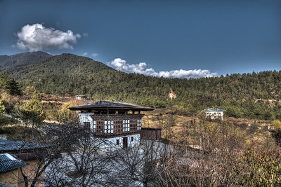 View from Naksel Boutique Hotel & Spa at Paro, Bhutan.   Naksel is a blend between the heritage of traditional Bhutanese architecture and the comfort of modern amenities.