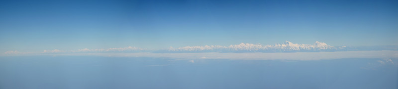 Panoramic view of the Himalayan range including Mount Everest enroute flight from Paro, Bhutan to Mumbai, India on Druk Air flight.