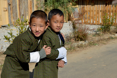 Children playing after school in Paro, Bhutan.