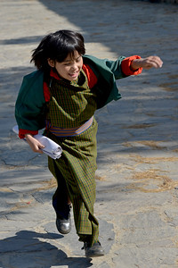 Children returning from school in Paro, Bhutan.