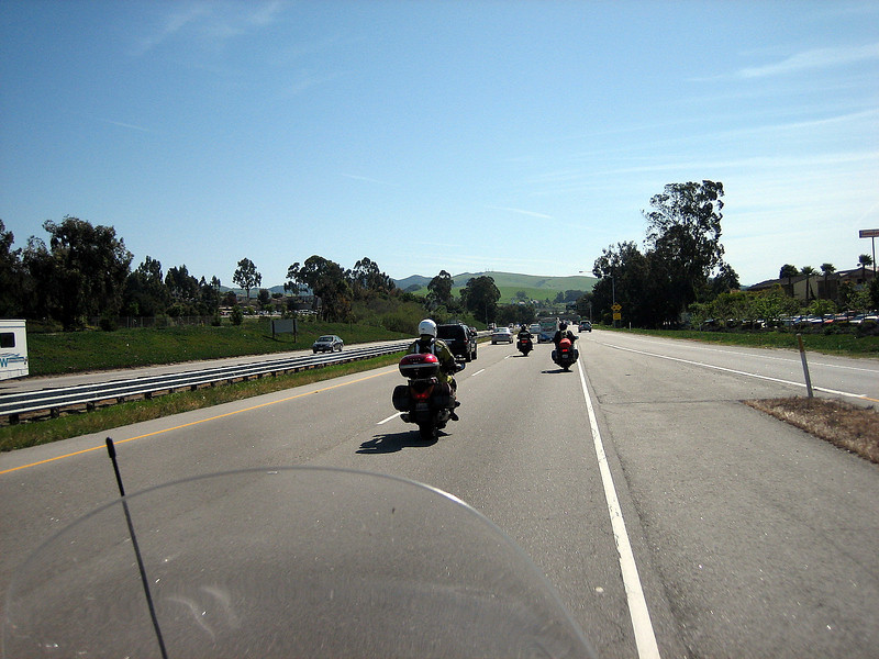 ..  and turn left, inland and head east towards the Sierra Mountain Range.