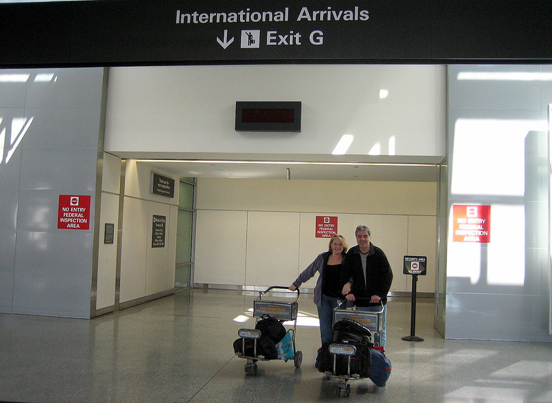 11 hours later I'm reclaiming my baggage, and scurry across to the immigration queue to get that all-important 90-day visa passport. I reunite with Ellen - who, due to her different itinerary, arrived a little earlier on a United Airlines flight. Together we leave San Francisco International Airport's main concourse and immediately we're greeted by Vijay, our Honda ST1100-owning friend and host for the first few days of this, our second American adventure.