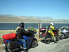 Onwards we - the three remaining riders - Mack (Auckland), David (Seattle) & Me an' 'Er indoors - stop briefly at Lake Isabella