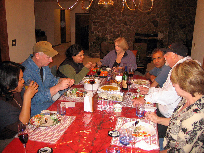 Nevertheless, we can sort all the rest of it out in the morning. Right now it's 'party time', with fine Indian spicy fare and my new friends: Vijay & Mo, Richard & Arlene and Don & Joyce. <br /> <br /> Vijay and Richard hope to ride south with me, at least for the first few hundred miles of my long journey back towards the Atlantic seaboard.