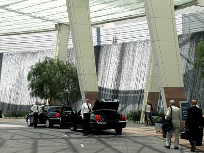 Waterfalls surround the driveway at City Center