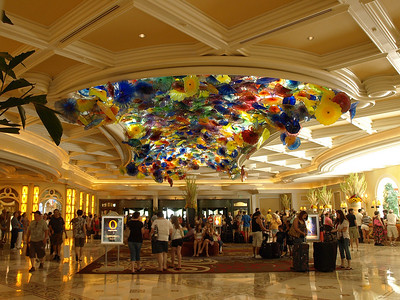 Bellagio lobby is dominated by a skylight filled with glass flowers by Dale Chihuly.