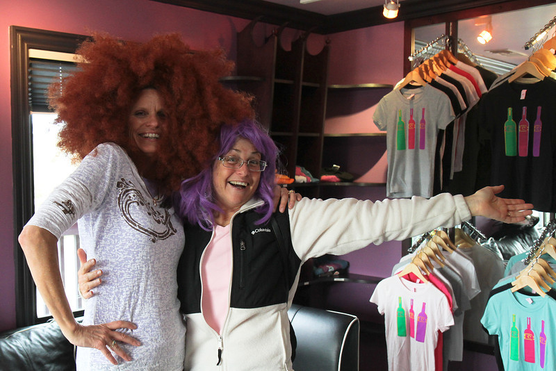 They had a costume room at Clautiere Winery- here's Mary and Liane... really!