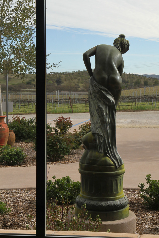 Pear Valley Winery had a statue that moons you through the window.