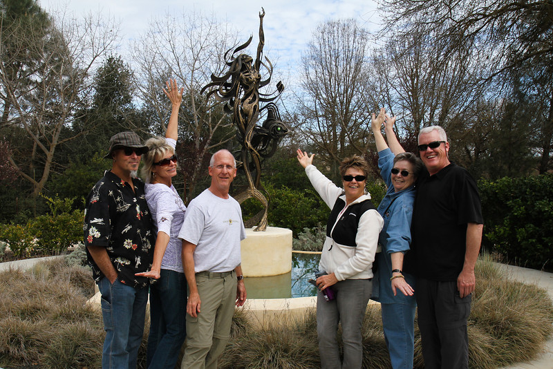 """All of us in front of John Jagger's """"Mermaid"""" in the sculpture garden at Sculpterra Winery."""