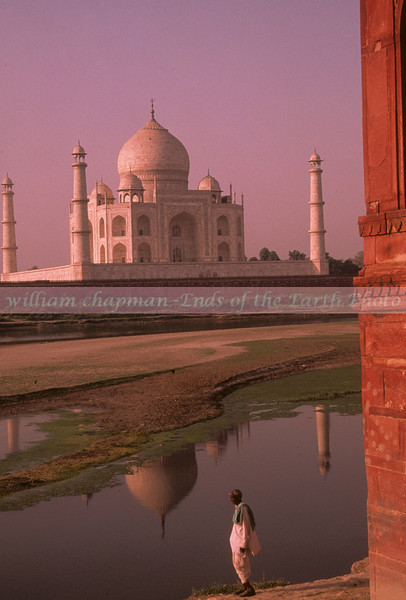 Taj Mahal from behind across river near ruins.