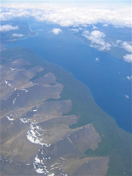 Tierra del Fuego (Vuurland) vanuit de lucht. Patagonië, Argentinië.