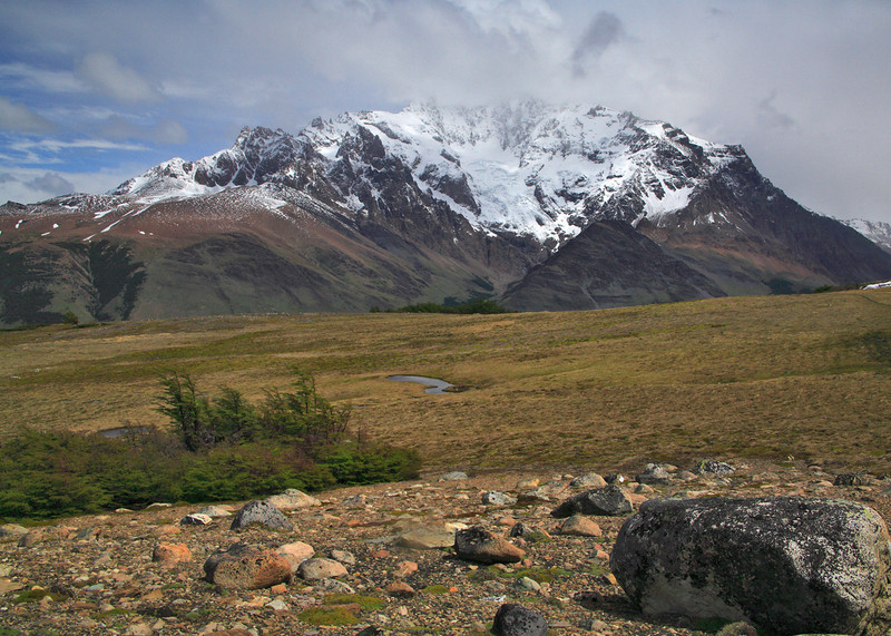34. To the right, the tall dark shape, lost in the clouds, may be Mt. Fitz Roy. The middle ground, though looking solid, was actually extremely soggy!