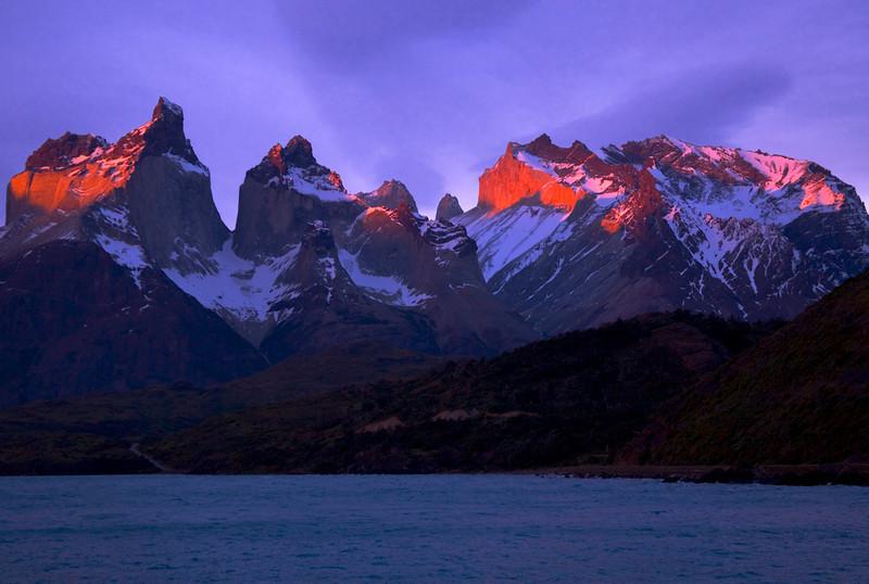 "51. ""La puesta del sol"" (sunset) illuminates the Cuernos, the moment I have waited for."