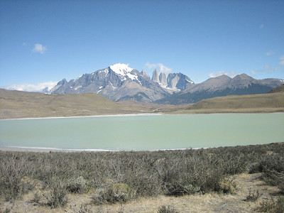 This particular lake used to be fed by a river flowing from the Torres del Paine range visible in the background.  The river was diverted in the 1960's however after an earthquake.  Since then, the lake has evaporated slowly, and has become 3 times more salty than the ocean.  It is still over 300 ft deep, and will soon be as salty as the Dead Sea.