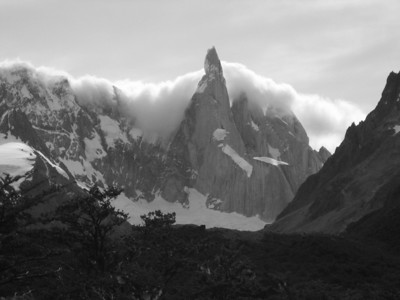 Cerro Torre with cloud quilt in black and white.