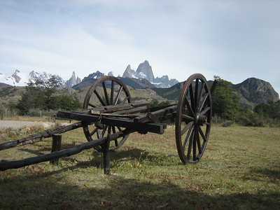 Fitz Roy behind wagon at the ranger station in El Chalten.