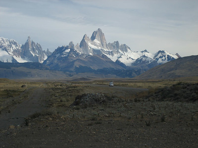 Fitz Roy mountain range with Torre Cerro to the left from a distance.  The bus driver stopped for a few minutes about 30 minutes before we reached El Chalten to let us get this shot.