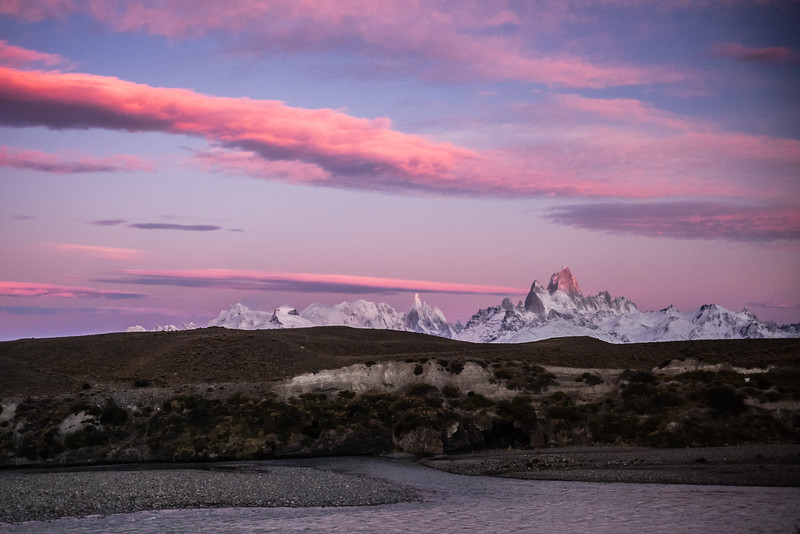 Cerro Torre and Fitzroy from the bus back to Puerto Natales at dawn