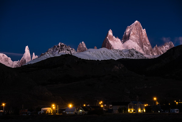 Cerro Torre and Fitz Roy summits at sunrise from El Chalten