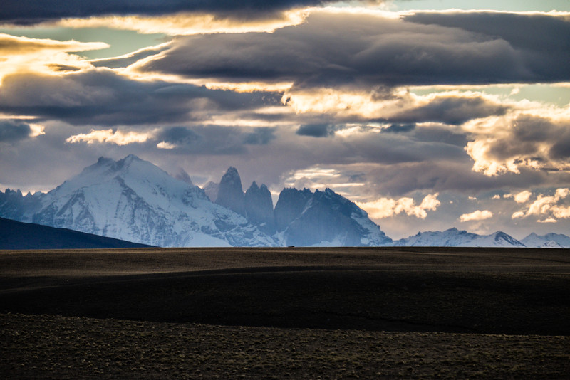 Torres del Paine from the bus back to Puerto Natales