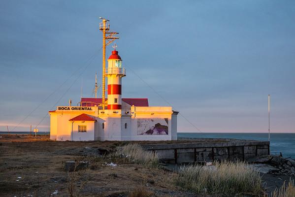 Lighthouse at sunset, Magellan Straits, Chile